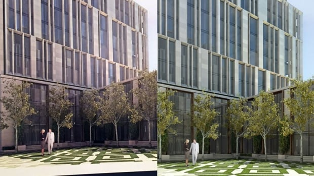 Some of the images presented for the redesigned Château Laurier appeared to be the same as ones earlier presented. On the left, a design presented on Nov. 17. At right, the design presented in September.