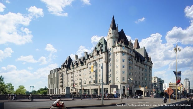 The view of the proposed Fairmont Château Laurier expansion from Confederation Square as presented in November 2016.