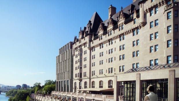 A view of the proposed addition of the Fairmont Château Laurier in Ottawa as seen from the Wellington Street Bridge.