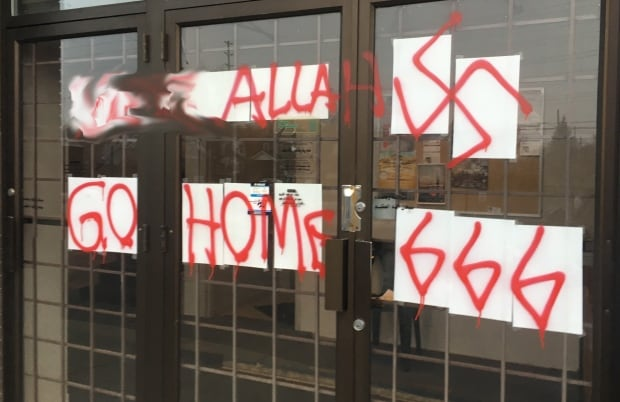 Ottawa Muslim Association mosque racist graffiti Nov 18 2016