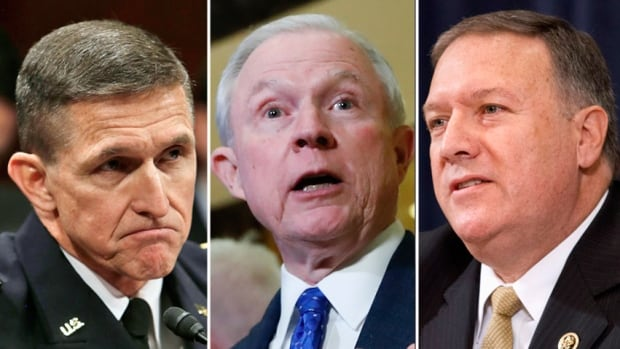 Three of Donald Trump's first appointees to cabinet. From Left to Right: Michael Flynn, Jeff Sessions, Rep. Mike Pompeo (Image composite courtesy of: Reuters/AP)