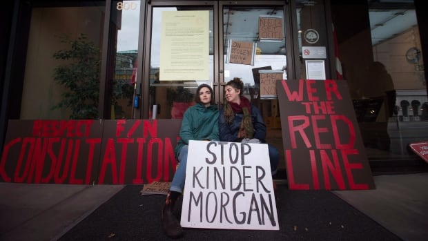 Two women locked themselves to the National Energy Board building in January to protest the Kinder Morgan Trans Mountain pipeline expansion in Vancouver. Mayor Gregor Robertson says Ottawa can expect more protests if the expansion is approved.