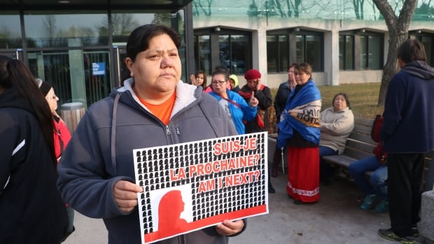 Ada Chevrier of Timiskaming First Nation made the two and a half-hour drive to Val-d'Or to join Friday's protest outside the courthouse.