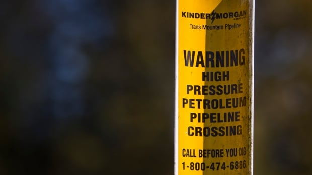 An underground pipeline marker is pictured near the Kinder Morgan tank farm in Burnaby, British Columbia.