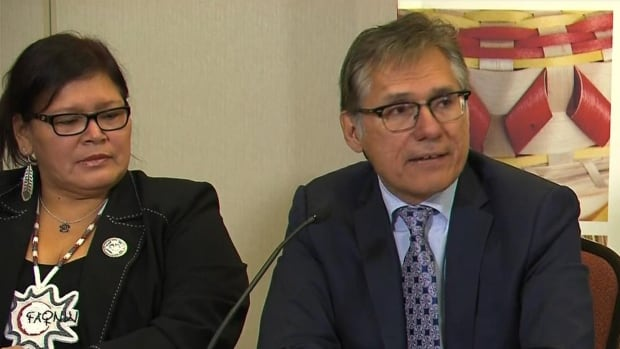 Grand Chief Matthew Coon Come, of the Grand Council of the Crees, right, accused the government of having a double standard in its response to Indigenous concerns.