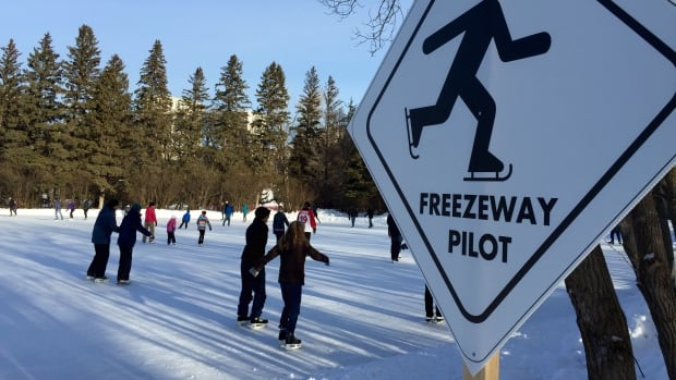 A sign welcomes skaters to the Freezeway, a 400-metre pilot project in Victoria Park last winter. The path is returning this year, under a different name.