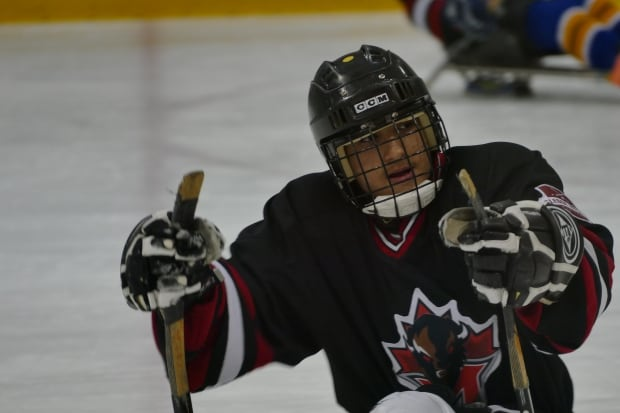 Omar Al Ziab at one of his Sunday afternoon sledge hockey games.
