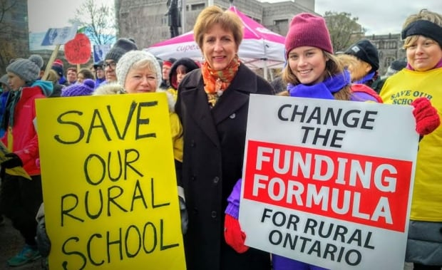 France Gelinas at school closure rally Nov. 21