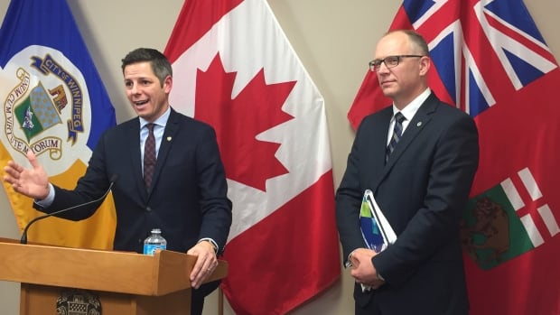 Mayor Brian Bowman, with council finance chair Scott Gillingham to the ...
