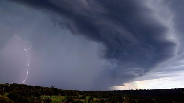 A large storm crosses over Sydney, Australia in December 2014.
