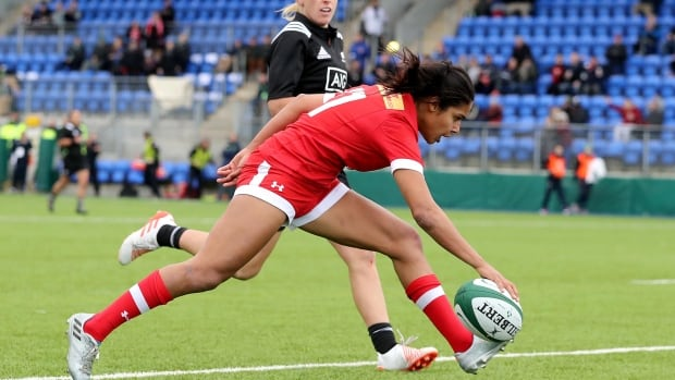 Canada's Magali Harvey scores a try during Canada's loss to New Zealand.