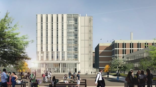 This is an architectural rendering of the Academic Health Sciences building at Carleton University, the future home of the university's neuroscience department. Before moving in there, the department is being asked to move into temporary accommodations at the University of Ottawa.