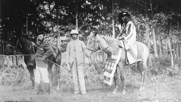 'Edmontonians of 1884' pictures three leaders of the day, Chief Ermineskin, right, Mayor Matthew McCauley, centre, and North West Mounted Police Corp. Shaw.