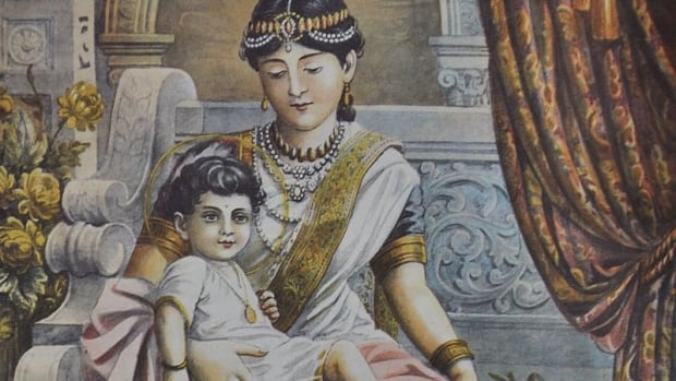 800px-Prince_Siddhartha_with_his_maternal_aunt_Queen_Mahaprajapati_Gotami