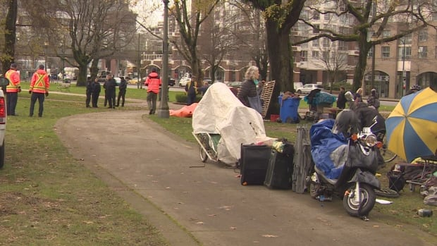 A day after the City of Vancouver started dismantling a homeless tent city at 58 West Hastings St. arrests have been made at a new tent city location.