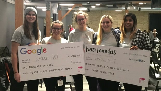 The all-woman team of developers behind Natal Net won the Break Inequality Hackathon over the weekend. The app helps women in developing countries communicate with health professionals.