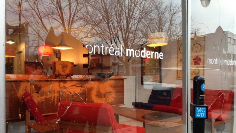 Furniture Store Montréal Moderne Was One Of Five  Mercier Hochelaga Maisonneuve Businesses Vandalized Overnight. (Lauren  McCallum/CBC)