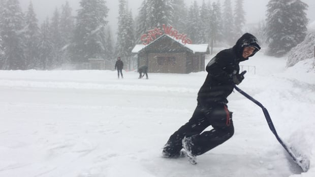 Snow needed shoveling by Nov. 22 at Grouse Mountain, near Vancouver B.C.