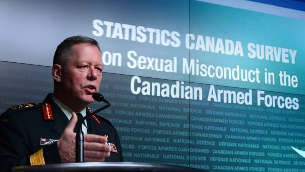 Gen. Jonathan Vance, chief of the defence staff, addresses the findings of a Statistics Canada survey on sexual misconduct in the Canadian Armed Forces during a news conference at National Defence headquarters in Ottawa on Monday, Nov. 28, 2016.