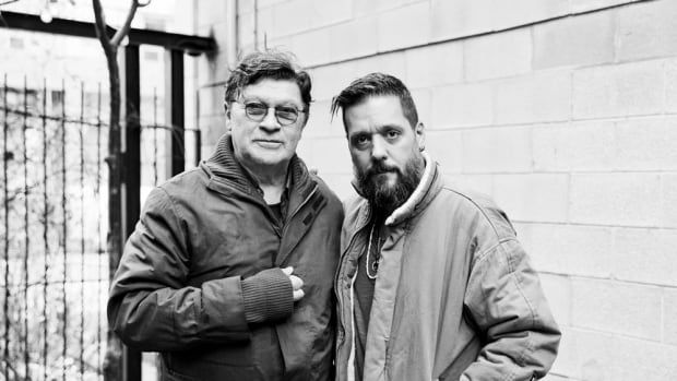 Robbie Robertson, left, stopped by CBC Vancouver to talk about life with The Band and his new memoir, Testimony. He is pictured here with CBC host George Stroumboulopoulos.
