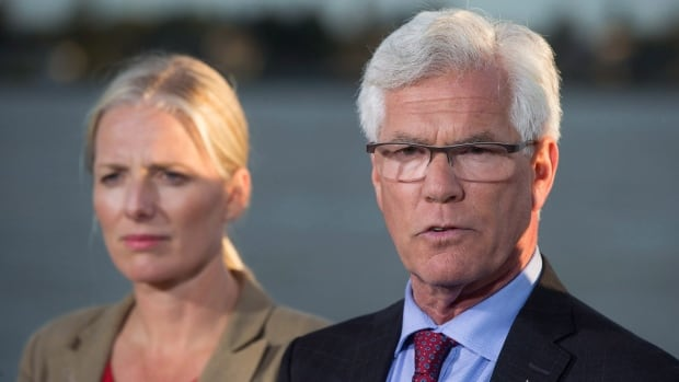 Minister of Natural Resources Jim Carr speaks next to Minister of Environment and Climate Change Catherine McKenna. Sources tell CBC News the federal government is expected to announce its decision on two major pipeline projects Tuesday.