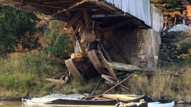 The Hammond River covered bridge was closed on Oct 5, following damage from the excavator that fell through its floorboards