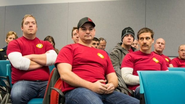 Yellowknife firefighters at Monday's Municipal Services Committee Meeting. The meeting was a chance for councillors to ask about the new Fire Master Plan, which recommends adding eight firefighters.