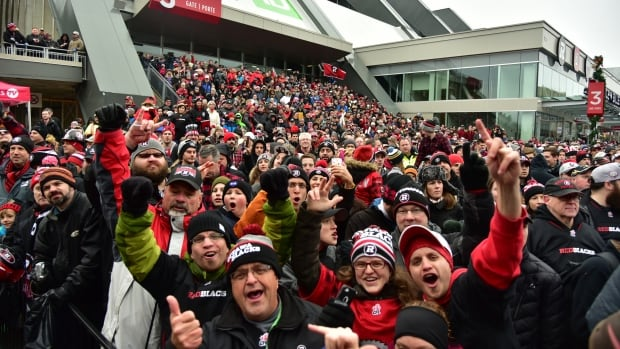 Redblacks fans packed Lansdowne Park last year to celebrate their team's Grey Cup victory. With this year's CFL championship in Ottawa on Nov. 26, authorities are warning football fans not to try to drive to TD Place for the big game.