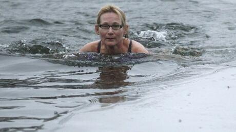 Woman swims