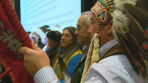 Head of the Assembly of Manitoba Chiefs Derek Nepinak, pictured far right, said governments and businesses must realize they cannot undertake projects in Indigenous territory without full consent.
