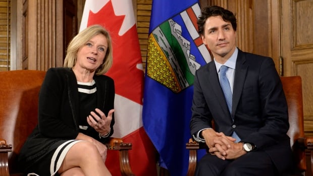 Prime Minister Justin Trudeau and Alberta Premier Rachel Notley met after the Trudeau announced approval of the Trans Mountain pipeline to the B.C. coast on Nov. 29, 2017.