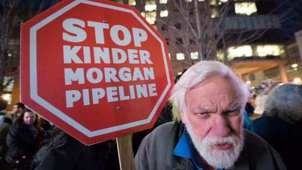 Protester in Vanvouver opposing the Kinder Morgan Trans Mountain Pipeline expansion project. Environmental Defence, a Toronto charity that also opposes Kinder Morgan, remains under threat by the Canada Revenue Agency.