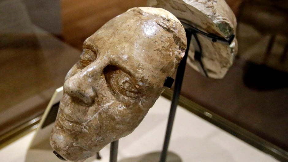 The death mask of Joseph Smith is shown during a tour of the Mormon Church History Museum, in Salt Lake City.