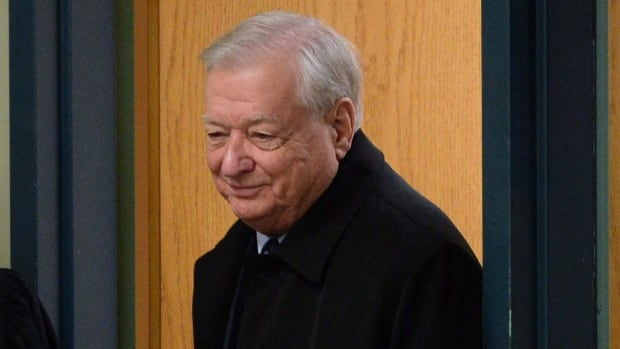 Former Laval mayor Gilles Vaillancourt arrives for a court appearance in Laval, Quebec on Thursday.