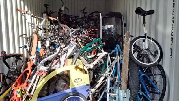 Some of the bikes recovered from a property that Saanich Police searched in November.