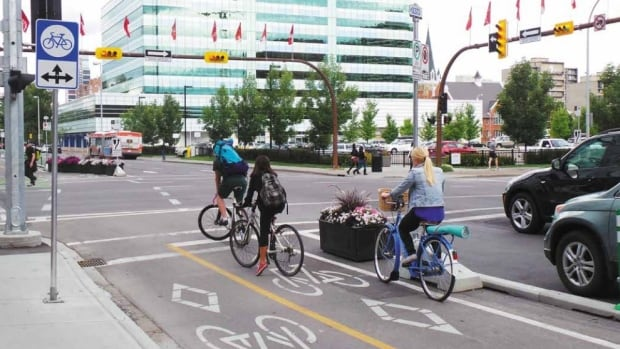 The cover image from the final report on Calgary's Centre City Cycle Track Network.