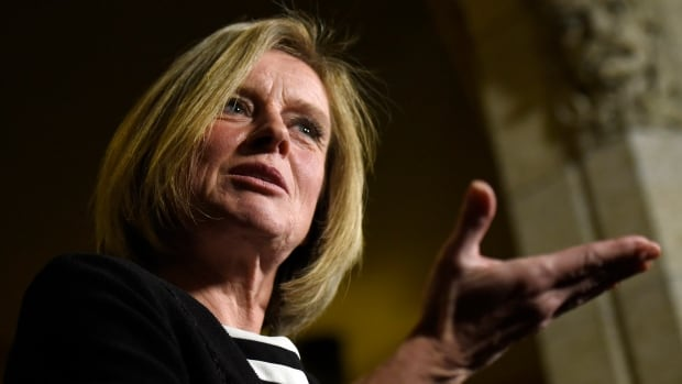 Alberta Premier Rachel Notley speaks to reporters on Parliament Hill in Ottawa on Tuesday. Notley is heading to British Columbia on Monday to make the case for the Trans Mountain pipeline expansion.