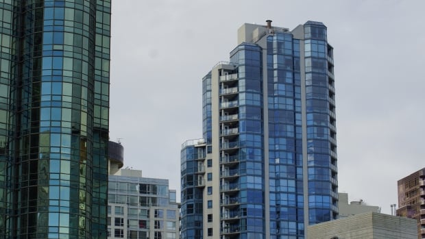 Coal Harbour condominium towers rise above Vancouver.