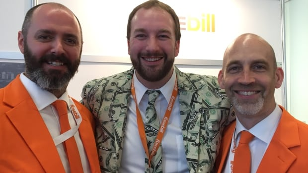 Dressed for success: Erik Hobbins, Mike McCarthy and Adam Cobb make their pitch for their company fusebill at the SaaS North conference at Ottawa's Shaw Centre Thursday.