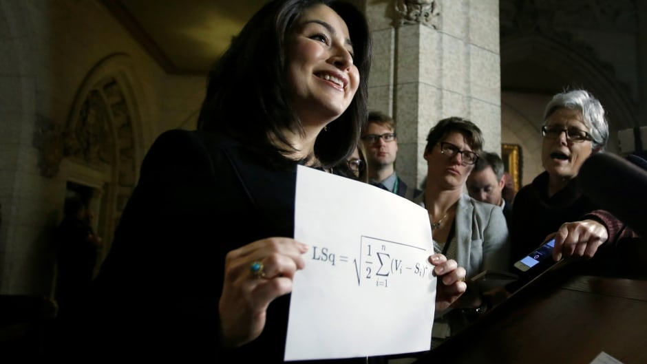 Former Democratic Institutions Minister Maryam Monsef holds up a print out of the Gallagher Index in December, 2016. The index shows the difference between a party's popular vote, and the number of seats it gets in the legislature. It was one of many things discussed by the Electoral Reform Committee last year. (Chris Wattie/Reuters)