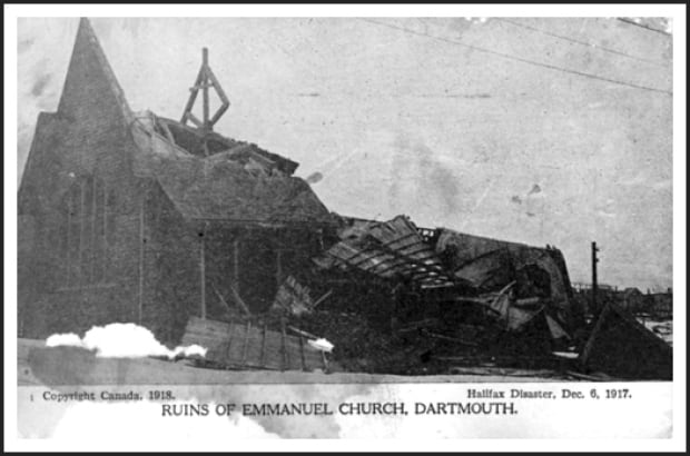 Emmanuel Church in Dartmouth was knocked down by the explosion.