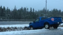 Truck in ditch during December 2nd storm