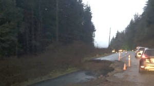 Part of Highway 4 west of Port Alberni closed after road washes out