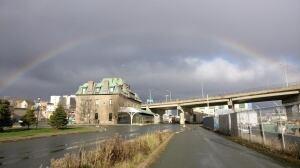 Rainbow over downtown
