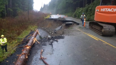 Highway 4 west of Port Alberni remains one-lane both directions