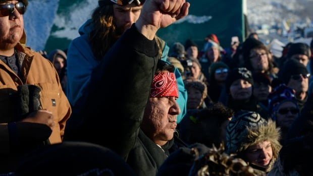 Protesters shouted 'water is life' upon learning Dakota Access Pipeline construction had been halted nearing the Standing Rock reservation.