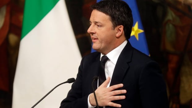 Italian Prime Minister Matteo Renzi speaks during a press conference in Rome early Monday. Renzi acknowledged defeat in a constitutional referendum and announced he would resign.