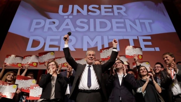 Presidential candidate Alexander Van der Bellen celebrates in Austria's capital of Vienna on Sunday after the first official results from the Austrian presidential election showed him with what appears to be an unbeatable lead over right-winger Norbert Hofer.