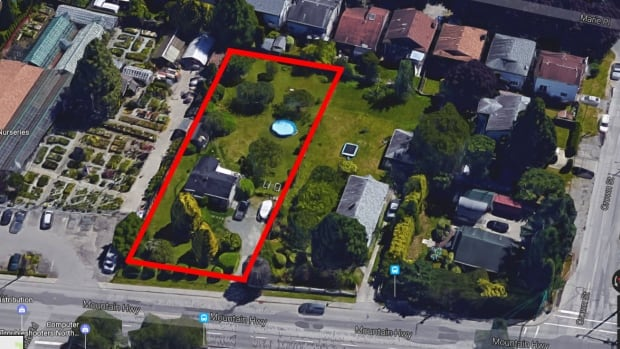 The property at 440 Mountain Highway in North Vancouver, roughly outlined in red, has a 744 square foot two-bedroom house with a basement on a 19,500 square foot property. Last year, its assessed value jumped from $967,100 to $4,457,000.