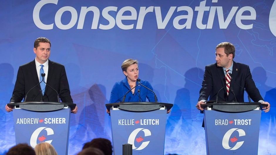 Andrew Scheer, Kellie Leitch and Brad Trost, left to right, participate in the Conservative leadership candidates' bilingual debate in Moncton, N.B. on Dec.6, 2016. Conservatives vote for a new party leader on May 27, 2017.